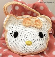 Gehaakt Hello Kitty tasje * haakpatroon of haakpakket van HappyHaken