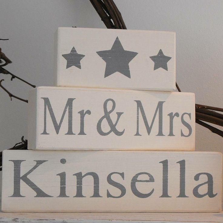 mr & mrs wedding blocks personalised by hush baby sleeping | notonthehighstreet.com