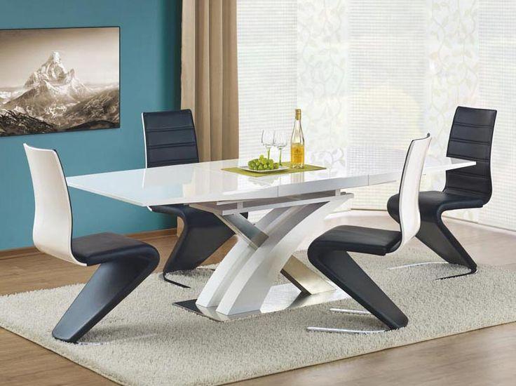 Komplet mebli stołowych z dostawą na terenie całego kraju. Lakierowany na wysoki połysk stół oraz bardzo designerskie krzesła. #meblowyguru