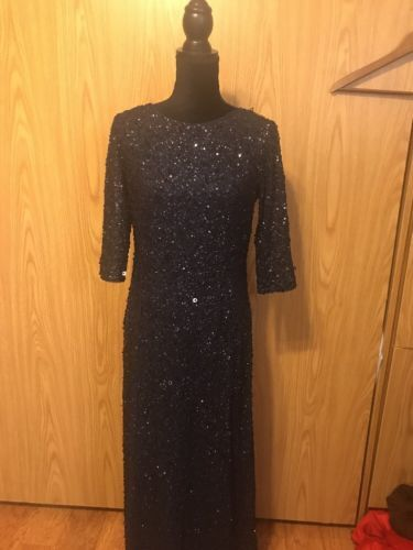 Adriana-Papell-3-4-Sleeve-Mermaid-Beaded-Gown-sz-12-Navy-Blue