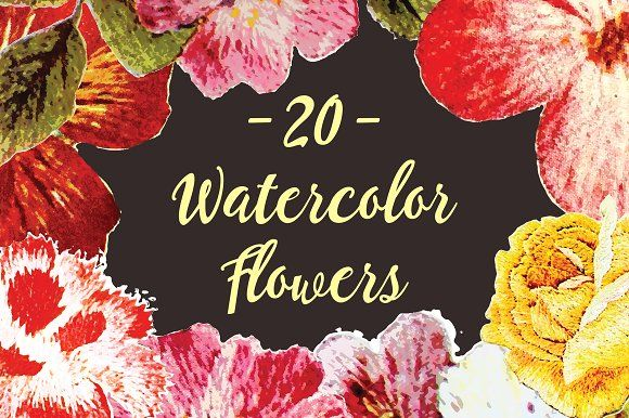 20 Watercolor Flowers by BART.Co Design on @creativemarket