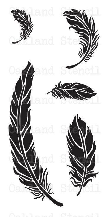 PLANTILLA de plumas  5 en una hoja de  para por OaklandStencil