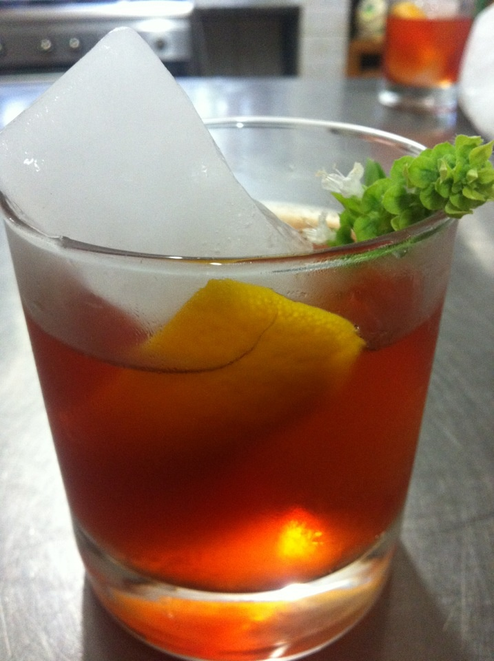 pimm's no.1 Negroni with basil
