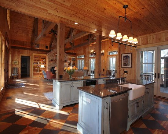 Rustic Open Floor House Plans Kitchen