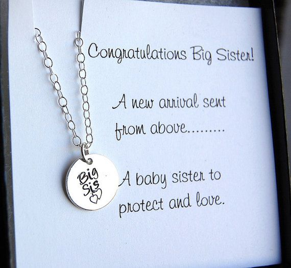 Big Sister Necklace Girls Necklace Sister Gift by SoBlessedDesigns, $34.00 this would be neat if we find out its a girl