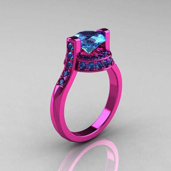 Modern Italian 14K Pink Gold 1.5 CT Blue Topaz Wedding Ring
