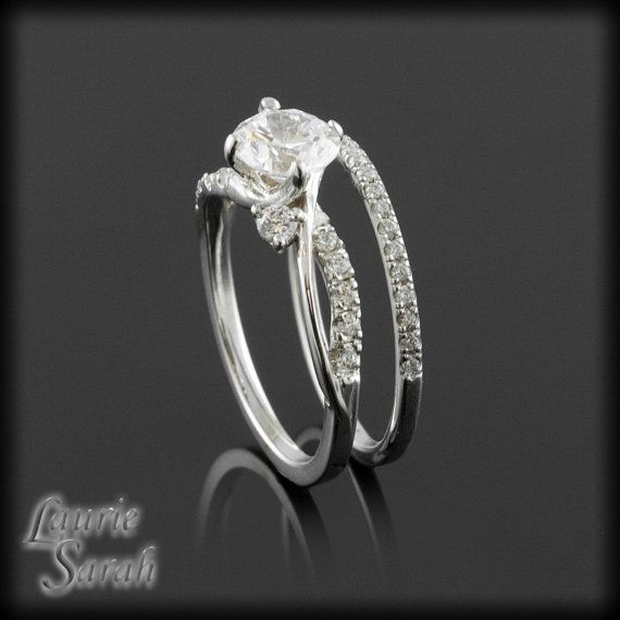 diamond twisted shank engagement ring with dainty 15mm wide diamond wedding band ls2683 on - Dainty Wedding Rings