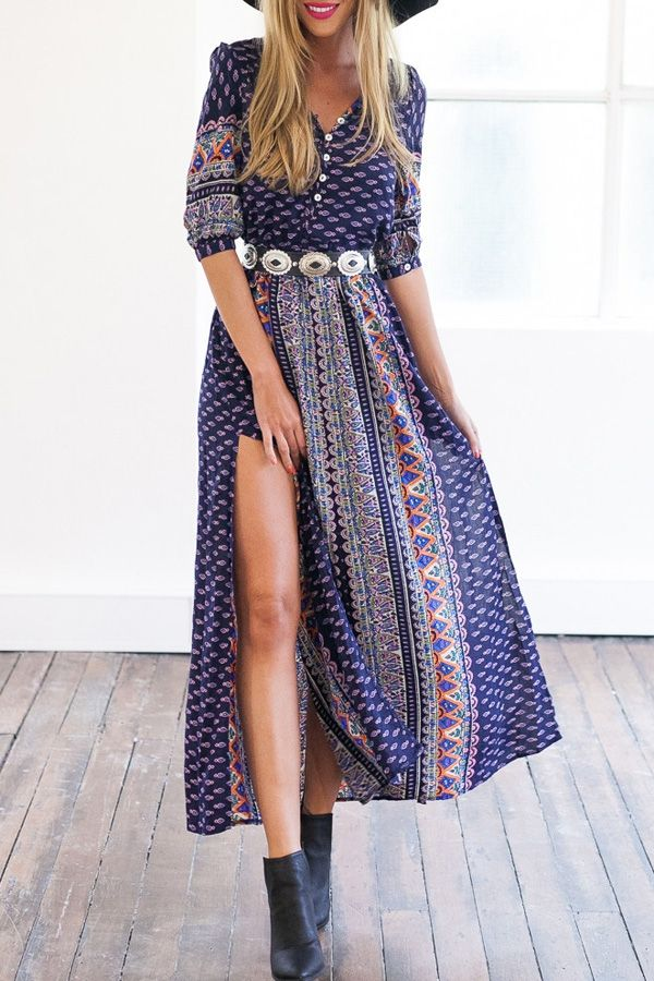 Comprehensive Bohemian Style Interiors Guide To Use In: Pure Color V Neck Short Sleeve Dress