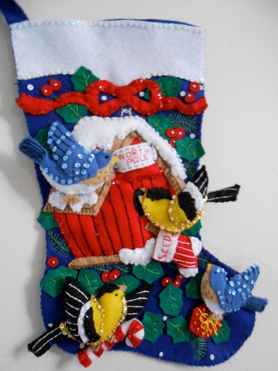 Winter Birds Completed Handmade Felt Christmas Stocking from Bucilla Kit