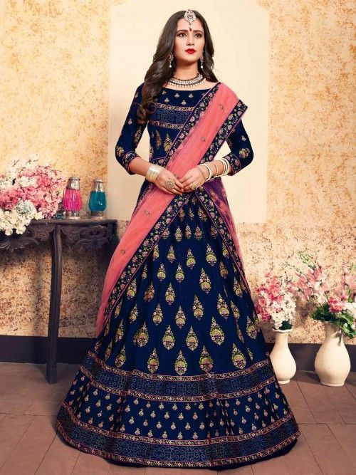 7318333a8e Radiant navy blue partywear lehenga choli online for women which is crafted  from satin fabric with exclusive thread, swarovski and stone work. Shop  this ...