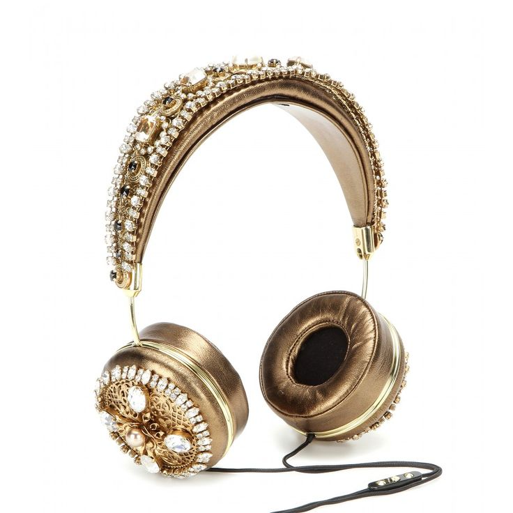 Dolce & Gabbana - Embellished metallic leather headphones - Dolce & Gabbana injects a dose of signature romantic opulence into the basic headphones for this sparkling revamp. Crafted from antique gold metallic leather, they are coated in shining crystals that give them their instantly recognisable look. Slip them on to enjoy your music in the most luxe way possible. seen @ www.mytheresa.com