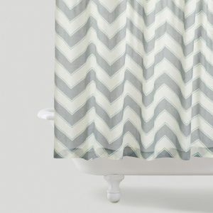 Grey And Pink Chevron Shower Curtain
