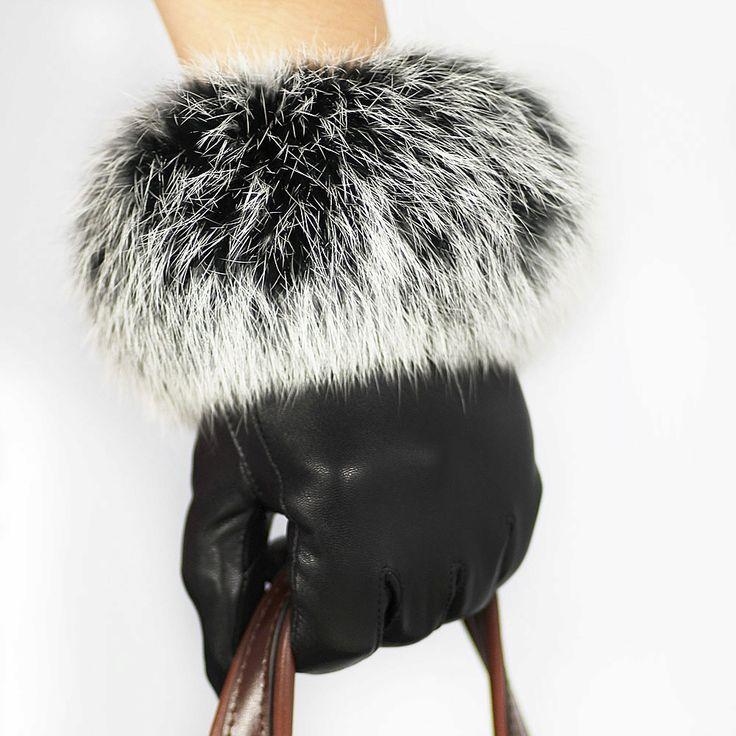 de la mujer de piel de oveja guantes de gran lujo conejo de piel de cuero guantes femeninos de la pantalla táctil