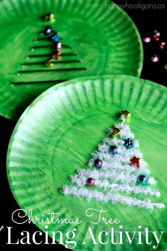 Paper Plate Christmas Tree Activity - a fun Christmas Craft that's great for fine-motor development, hand-eye co-ordination and for teaching basic sewing skills to young children - Happy Hooligans