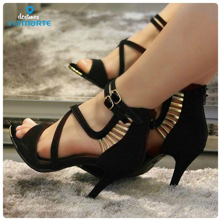 heeels - preto - dourado - salto alto - party shoes - black - Ref. 14-19102 - Alto Verão 2015