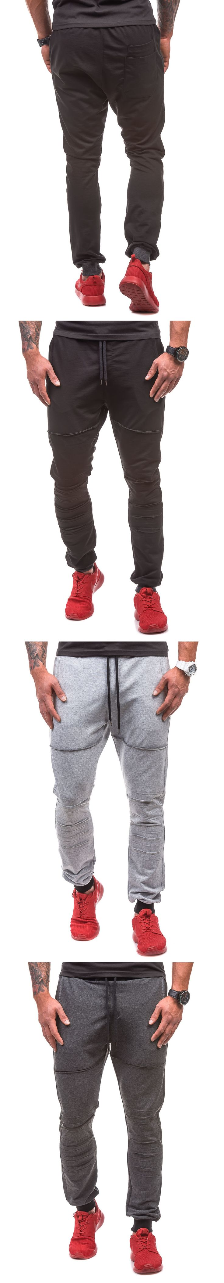 Brand Male New Fashion 2017 Slim Solid Color Ripped Men Casual Pants Man Trousers Designer Mens Joggers XXL