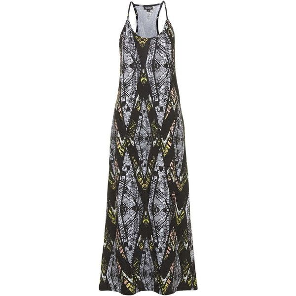 TOPSHOP Strappy Aztec Print Maxi Dress (52 BRL) ❤ liked on Polyvore featuring dresses, multi, strap maxi dress, aztec pattern dress, topshop, aztec print dress and aztec dress