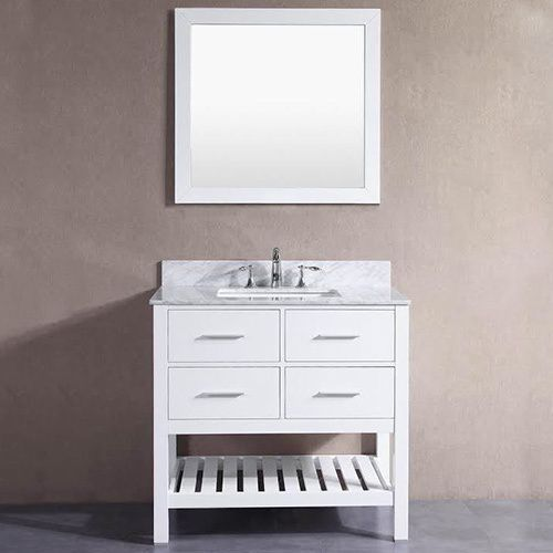 Photo Of Belvedere London White inch Bathroom Vanity with Marble Top and Backsplash Marble top with hole faucet setup