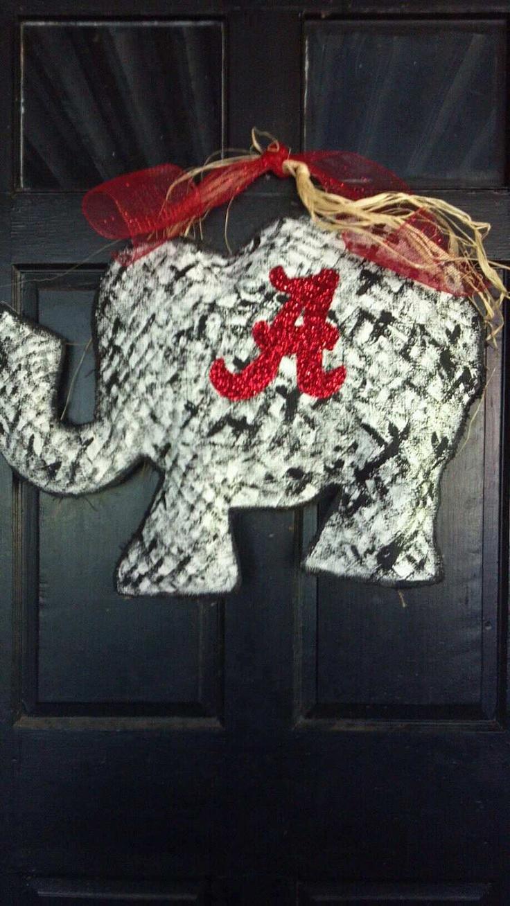 Alabama elephant burlap door hanger by FantasticlyFunky on Etsy