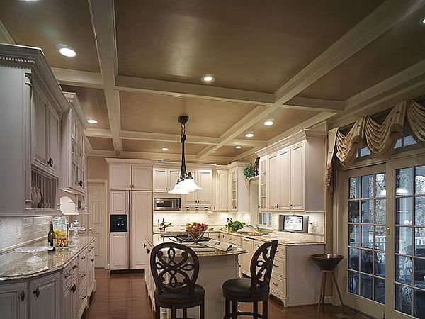We created a coffer ceiling in the kitchen. Cozy and ...