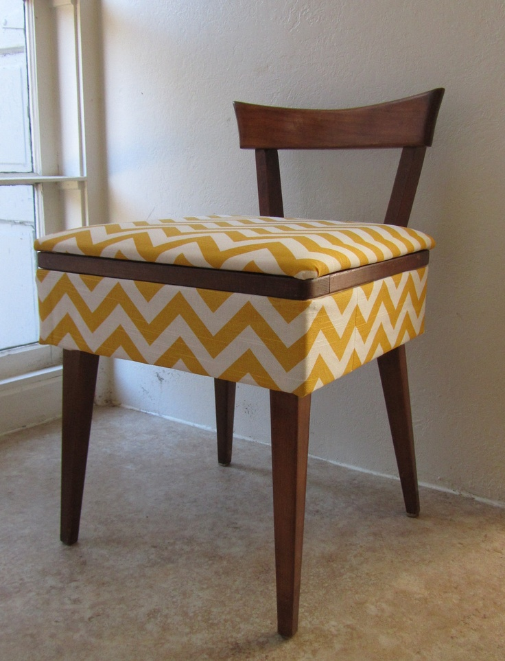 Awesome Mid Century Sewing Stool / Vanity Bench   Reupholstered Photo
