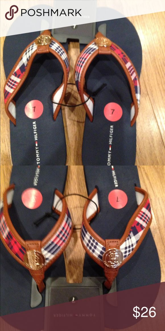 Tommy Hilfiger Ladies Flip Flops 🌝🌞☀️ Tommy Hilfiger Ladies Flip Flops. Red,white and blue with gold tone emblem..  ....Signature Tommy hardware . Size 7 . Can also be a unisex Flip Flops. Brand new! 🌞🌞🌞 Tommy Hilfiger Shoes Slippers
