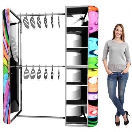 Ganchera para ropa / prendas de vestir y exhibidor con repisa portátil para exhibición de productos, con display para gráficas.