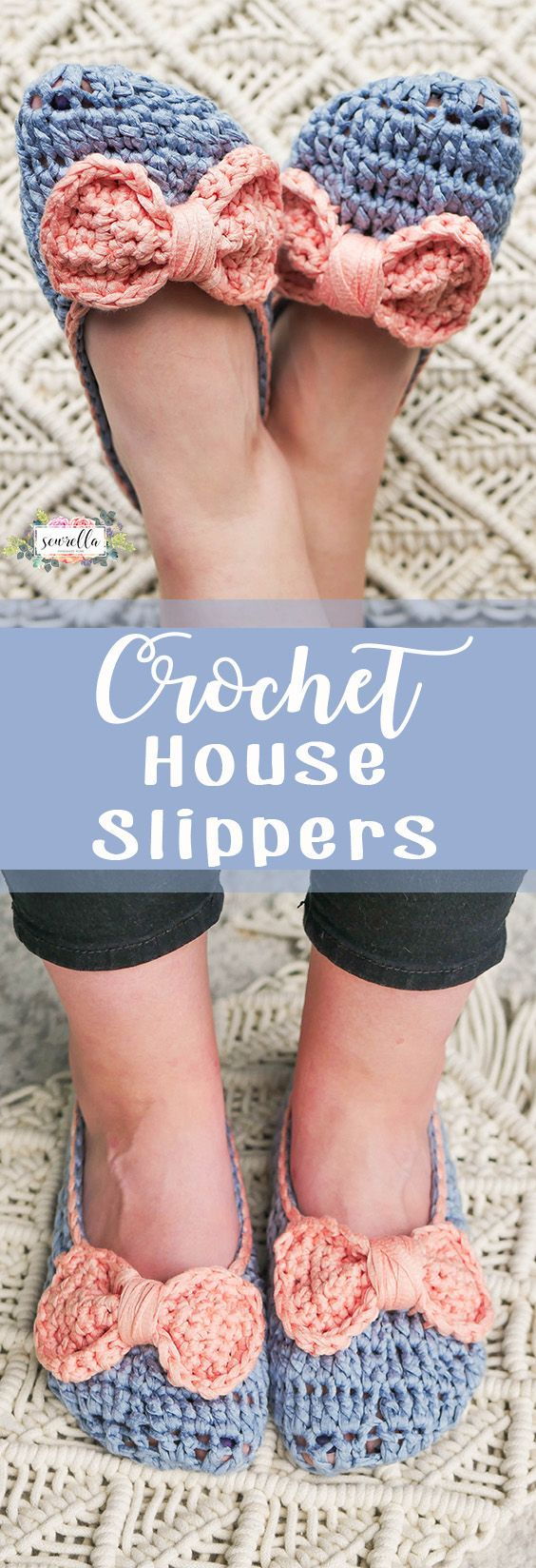 Make these easy DIY crochet house slippers with adorable bows! They are soft, comfy, and breathable - perfect for summer!
