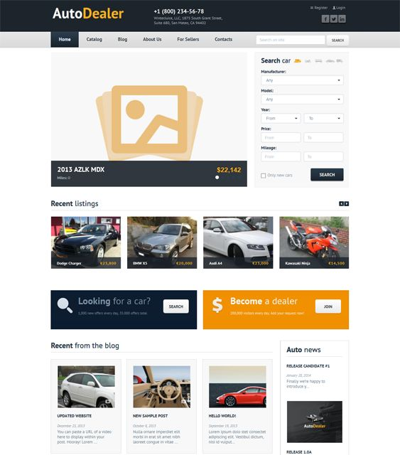 This car dealership WordPress theme offers a responsive layout, shortcodes, Bootstrap integration, cross-browser compatibility, social media icons, Google Maps integration, and more.