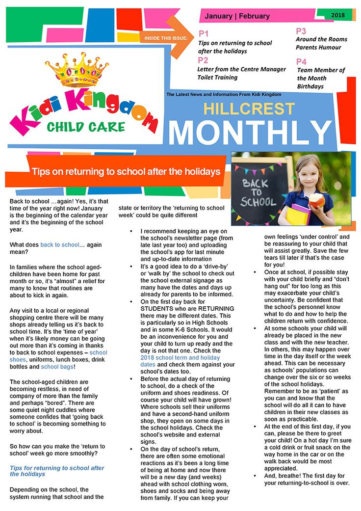 Welcome to the January / February Edition of Kidi Kingdom - Hillcrest News.  #Newsletter #ChildCare #Kindergarten #ChildrenFun #HappyChildren