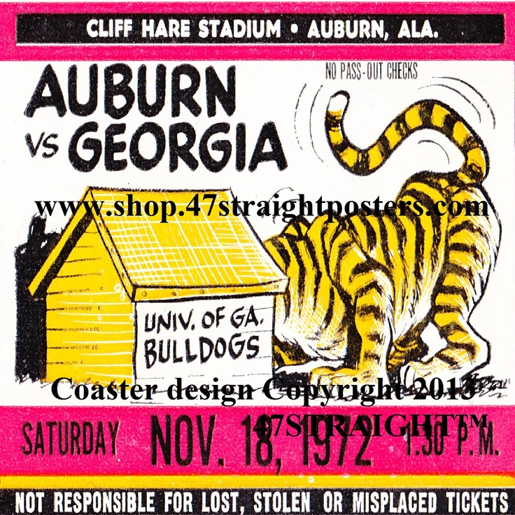Father's Day gifts under $40. 1972 Auburn vs. Georgia Football Ticket Coasters.™ Father's Day football gifts made from over 2,000 college football tickets. 47 STRAIGHT.™ Best Father's Day Gifts 2013! #football #fathersdaygifts #47straight