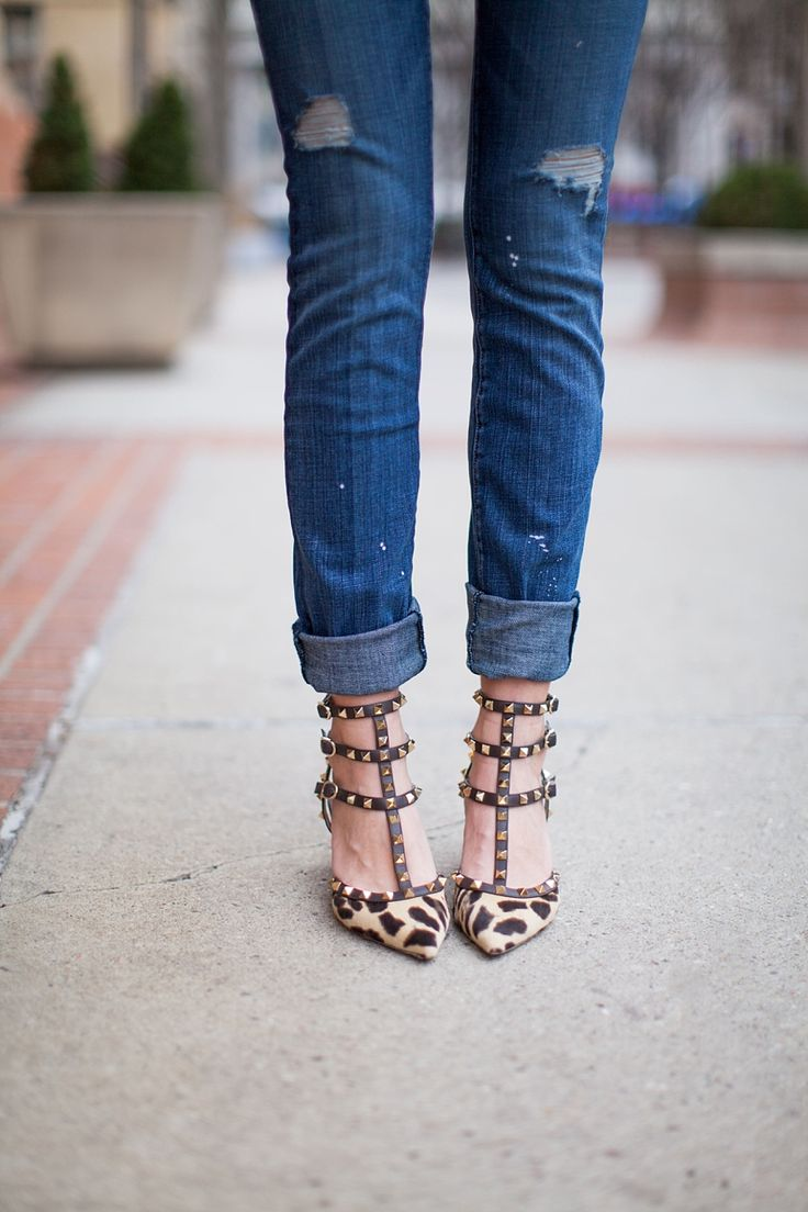 Add some glam to your feet with studded heels. #StripStyle
