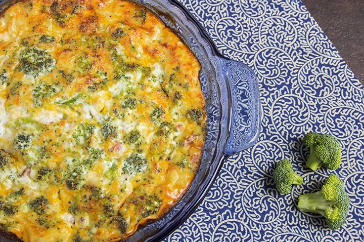 skinny crustless quiche recipe serves 6 view of top of casserole