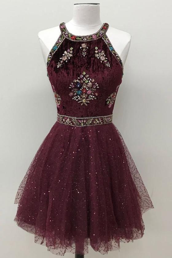 1905b239071 Unique round neck tulle beads short prom dress