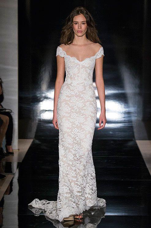Off-the-shoulder lace wedding dress, Reem Acra Spring 2017 Bridal Collection