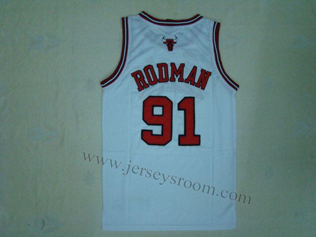 best website e3f36 42800 Chicago Bulls #91 Dennis Rodman White Jersey | Sports ...