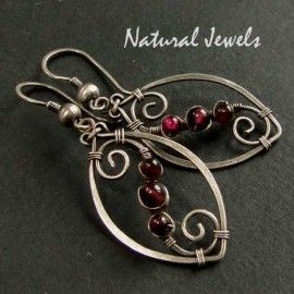 Aurora - sterling silver earrings with 3 Round beads of Red Garnet, made by Natural Jewels