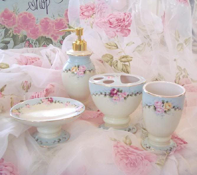 beautiful cottage blue pink roses bathroom vanity accessories - Blue Bathroom Accessories Uk