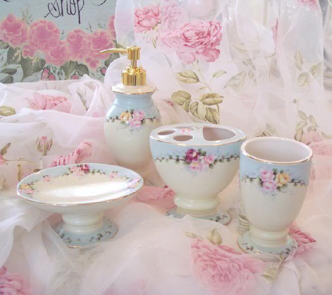 Beautiful Cottage Blue U0026 Pink Roses Bathroom Vanity Accessories