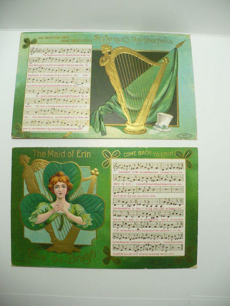 1909/11 ST PATRICK POSTCARD Music Harp Tara's Hall Maid Erin Go Bragh MW Taggart #StPatricksDay