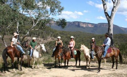Horse riding on the Valley View Ride.. with great views of the  cliffs of the blue Mountains
