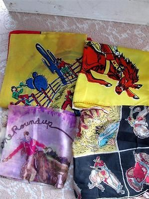 Vintage Lot 4 Rodeo Cowboy Bucking Horse Silk Scarf