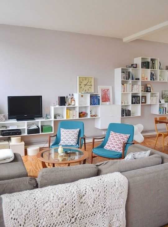 Grey couch and blue chairs <3 || Marie & Ben's Scandinavian Chic Shoe Factory Apartment