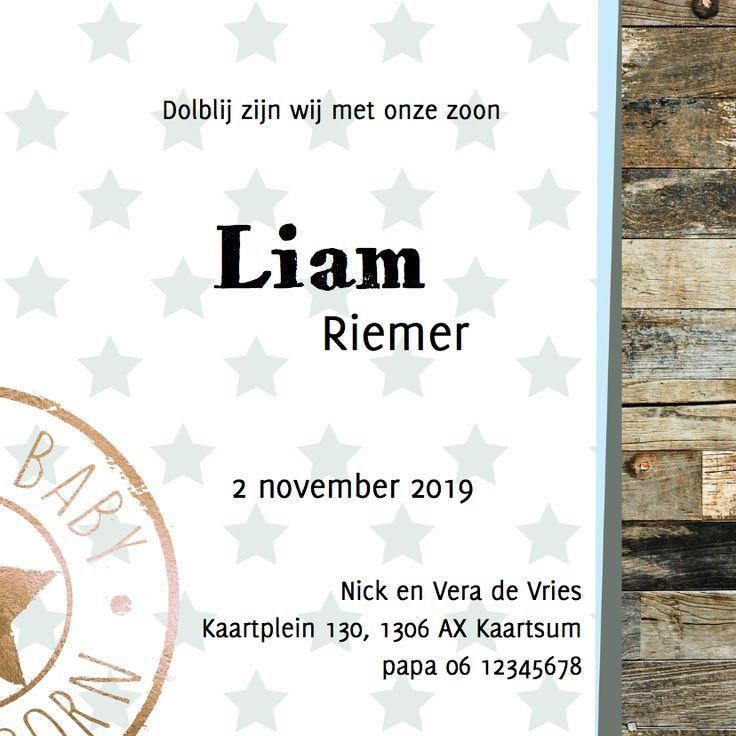 Geboortekaartje Liam - LO - Geboortekaartjes - Kaartje2go