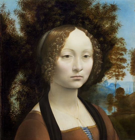 Leonardo da Vinci, Portrait of Ginevra de' Benci, c.1474/78, oil on panel, 38.1 x 37 cm, with tempera design on the reverse side, National Gallery of Art, Washington DC.