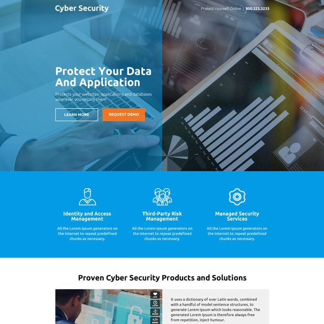 Download Cyber Security Product And Services Responsive Landing Page Design At An Affordable Price From Https Landing Page Design Cyber Security Page Design
