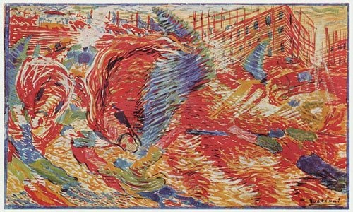 The City Rises by Umberto Boccioni, oil painting, 1910.
