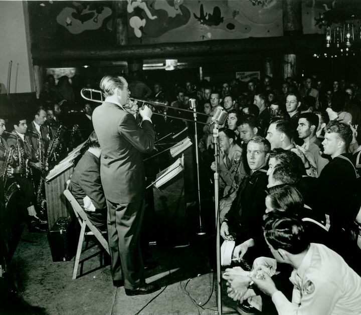 Historic Photograph of Tommy Dorsey Entertains The Soldiers At The Hollywood Canteen
