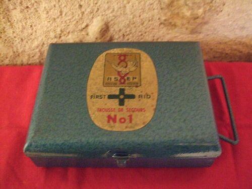 Vintage French Metal First Aid Box Original Contents Ancienne Trousse de Secours