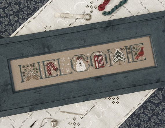 10% OFF Pre-order Welcome Winter cross stitch pattern INCLUDES embellishments by The Drawn Thread at thecottageneedle.com Christmas snowman by thecottageneedle